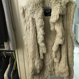 Rabbit fur long vest